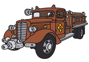 Hand drawing of a classic fire truck - not a real model
