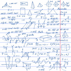 Math. Background with trigonometry formulas.