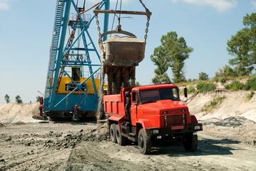 Excavator loading a heavy dump truck