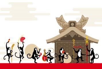 七福神の猿と社