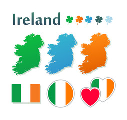 Set of icons with flags and map of Ireland