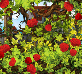Cartoon fairy tale scene with roses - illustration for the children