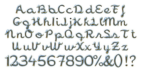 Complete alphabet digit numbers in metallic dark blue