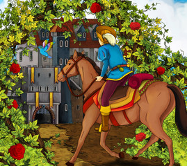 Cartoon fairy tale scene - prince on a horse