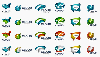 Modern cloud logo set