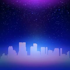 Blue night city sky with stars background