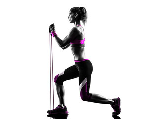 Wall Mural - woman fitness resistance bands exercises silhouette