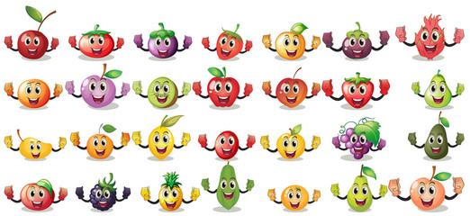 Sets of fruit faces