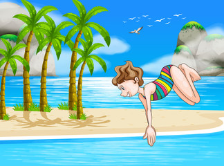 A girl at the beach