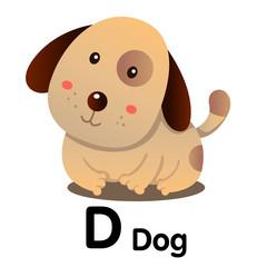 Illustrator of animal alphabet letter D for dog