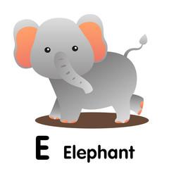 Illustrator of animal alphabet letter E for elephant