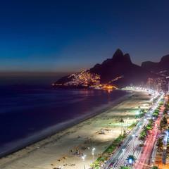 Sunset over Ipanema Beach in Rio de Janeiro, Brazil