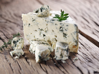 Wall Mural - Slices of Danish Blue cheese.