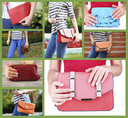 Different handbags in collage