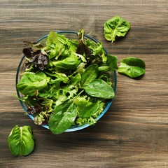 Pan with a green salad on wooden boards