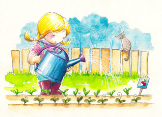 Cute girl watering her garden.Watercolors.