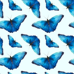a lot of blue butterfly pattern edges and triangles