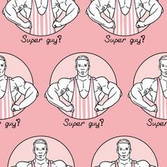 bodybuilder in pink striped pattern