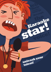 karaoke star poster person with microphone