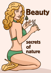 secrets of nature poster pin-up girl with leaf