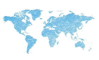 light blue grungy map of the world - vector continents