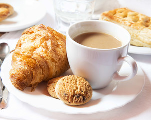 Latte Coffee Cup with Cookies and Croissants