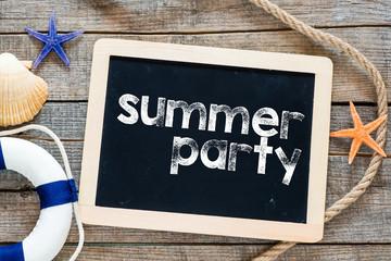 Summer party text on blackboard