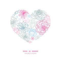 Vector gray and pink lineart florals heart silhouette pattern