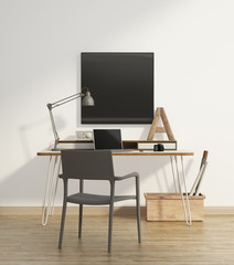 Elegant beige home office interior with grey armchair