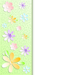 Spring background with pattern of stylized paper flowers