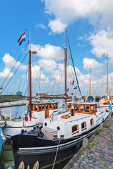 Summer view of the Dutch Hindeloopen harbor