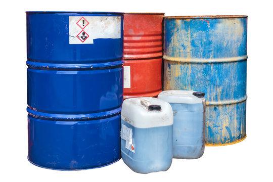 Toxic waste barrels isolated on white