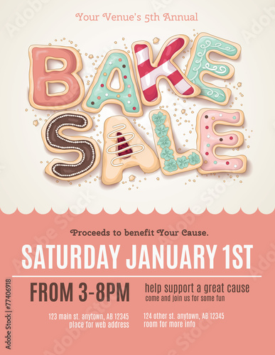 Hand Drawn Bake Sale Cookies On A Flyer Or Poster Template  Fun Poster Templates