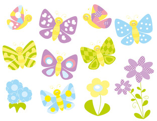 set of butterflies on white background- vectors