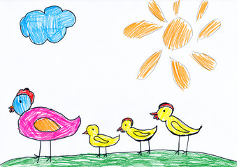 chickens family. child drawing