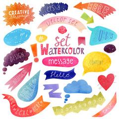 Watercolor hand drawn speech bubbles