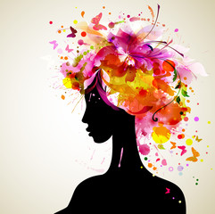 Beautiful women with abstract hair and design elements