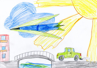 car on the bridge and airplane. child drawing.