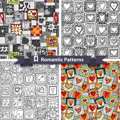 Set of  romantic patterns with doodle hearts.