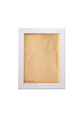 Old paper texture background in white wooden frame