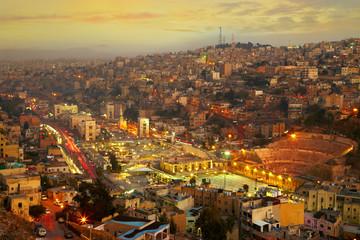 Night lights of Amman - capital of Jordan