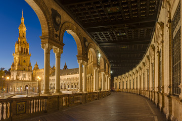 Spain Square in Seville, Andalusia, Spain.