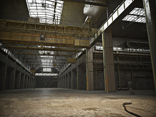 Large Interior framed grunge warehouse with an empty floor