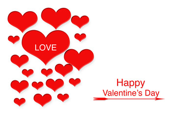 Red hearts with letter LOVE and valentine's day