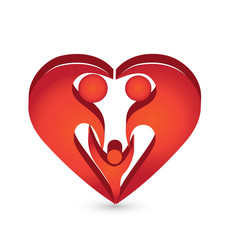 Heart family 3D logo vector