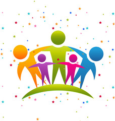 Family sparkles teamwork logo vector