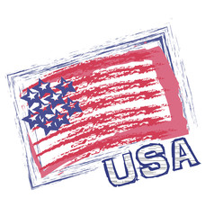 USA grunge flag vector icon logo