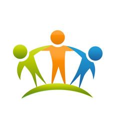 Friends hugging team logo vector