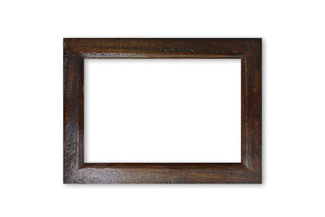 Dark brown wooden picture frame - isolated on white background