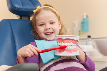 Little girl is having her teeth examined by dentist.